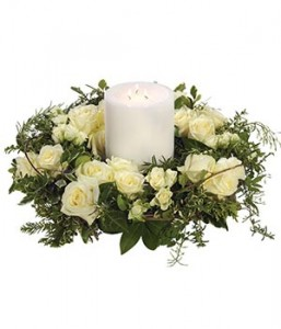 White Rose Wreath and Candle